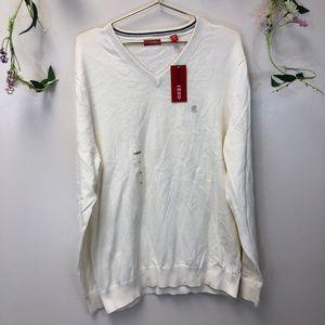 IZOD Men's Off White V-Neck Sweater NWT Large
